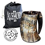 viking cup - AleHorn –The Genuine Handcrafted Authentic Viking Drinking Horn XL Tankard for Beer, Mead, Ale–Medieval Inspired Game of Thrones Mug Cup Goblet –Food Safe Vessel 100% Quality Promise