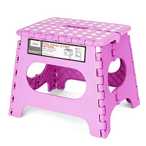 Kids Pink Foot (Acko 11 Inches Non Slip Folding Step Stool for Kids and Adults with Handle, Holds up to 250 LBS (Pink))