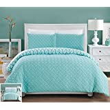 Chic Home 3 Piece Ora Heavy Embossed And Embroidered Quilted Geometrical Pattern Reversible Printed Queen Comforter Set, Aqua
