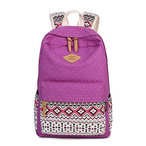 Kaoling Print Canvas Backpack School Bags Woman Vintage Teen Girls School Backpacks Laptop Backpack Bag Female Gray Logo Purple
