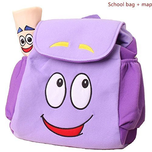 Dora Explorer Backpack Rescue Bag with Map,Dora Backpack  Pre-Kindergarten Toys Purple]()
