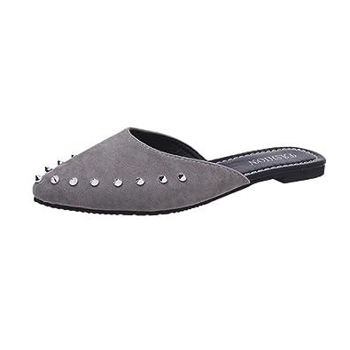 Angelof Sandales Femmes, Sandales Femmes Mode Daim Rivets Plats Chaussures  Pointues Pantoufles Escarpins Plates Sandales ab7cd72350c4