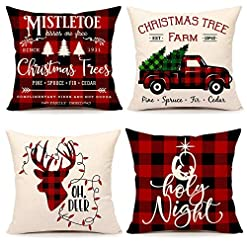 Christmas Farmhouse Home Decor Farmhouse Christmas Pillow Covers 18×18 Set of 4 Red Black Buffalo Plaids Xmas Decorations Throw Cushion Case for Sofa… farmhouse christmas pillow covers