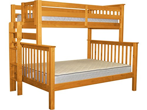 Style Study Bunk Loft Full (Bedz King Bunk Beds Twin over Full Mission Style with End Ladder, Honey)