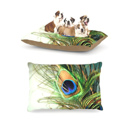 Kess InHouse Sylvia Cook ''Teal Peacock Feather'' Fleece Dog Bed, 30 by 40-Inch by Kess InHouse