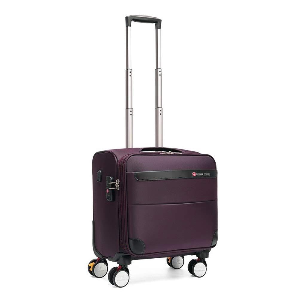 トロリーケース男性短距離スーツケースオックスフォード布ユニバーサルホイール女性小型スーツケース18インチ搭乗 (Color : Purple, Size : 18 inch) B07SW6ZQVJ Purple 18 inch