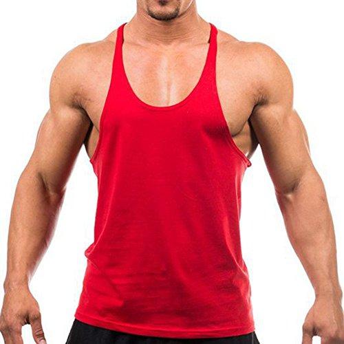Canotta Sleeveless Uomo Bodybuilding Gym Vest Shirt Fitness Rosso Weimeite Stringer wqBXx7EPxR