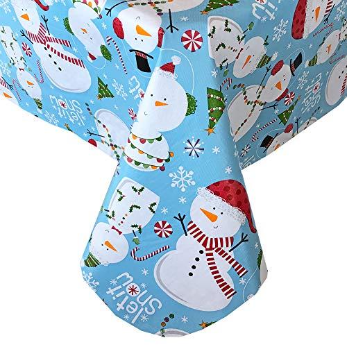 Newbridge Let It Snow Blue Snowman Christmas Print Vinyl Flannel Backed Tablecloth, Winter Snowmen Xmas Tablecloth, (60 Inch x 120 Inch Oblong/Rectangle) (Vinyl Tablecloth Blue Rectangle)
