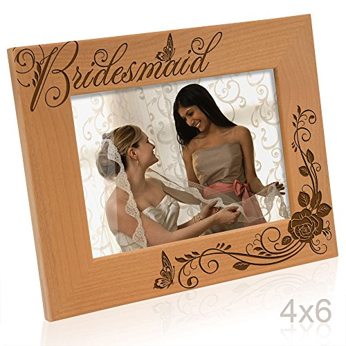 Kate Posh - Bridesmaid - Engraved Natural Solid Wood Picture Frame and Wall Decor (4x6 Horizontal)