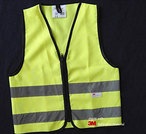 Salzmann High Visibility children reflective vest for outdoor sports, High Viz safety vest for Running, Cycling, Walking, Skating, Skiing, Skateboarding. Adjustable, lightweight, elastic Reflective Belt Vest for children, Kindergarten, Pupils, Junior student, Senior student, 3~7 years old - Yellow, XS