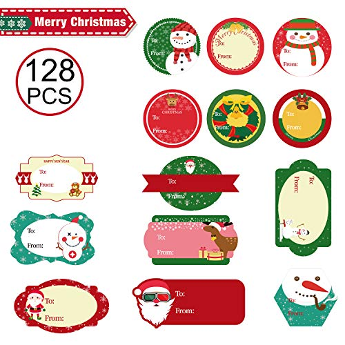 128 Pcs Christmas Gift Tags,Christmas Stickers Name Tags Labels Decorative Stickers for Gifts