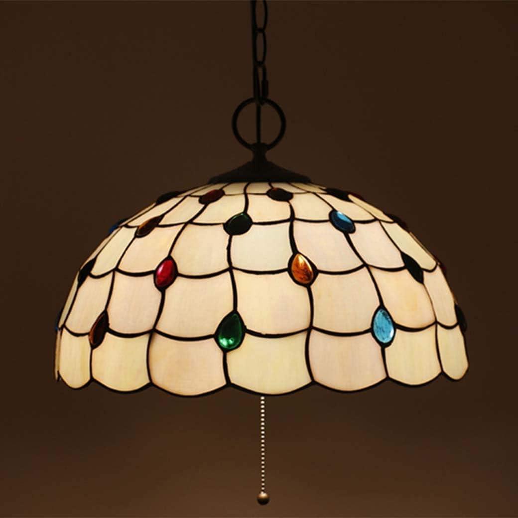 DALUXE Lámparas de Tiffany, Perlas de Vidrio Decorativos Pendiente de la luz Hecha a Mano, con Interruptor de cordón de Techo, lámpara Colgante para el Almuerzo, E27 X3, A,VS