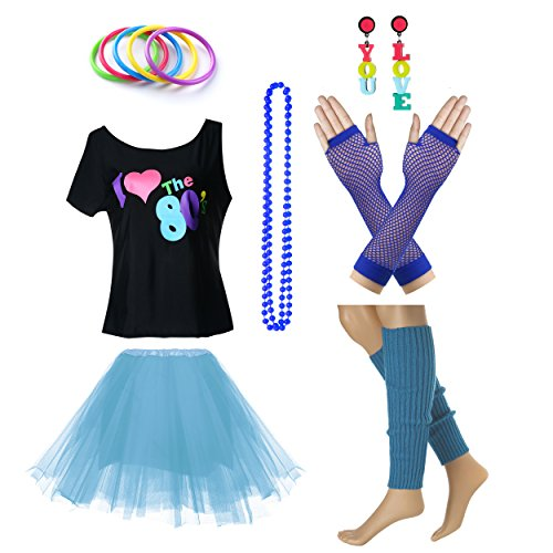 Women's I Love The 80's T-Shirt 80s Outfit accessories (M/L, Blue)
