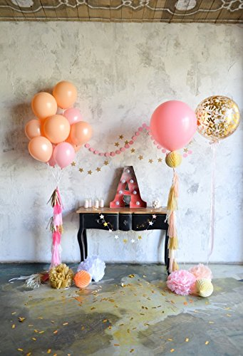 Minishot 5x7ft Rustic Kids Bday Backdrop Vintage 1st Birthday Photography Drop Grunge Western Cowboy Room Background Letter A Paper Balls Tassel Bouquets Cake Table Banner Flags Photo Shot Booth