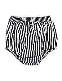Unisex Baby Girls Boys Cotton White Black Stripe Bloomer Shorts By LOOLY