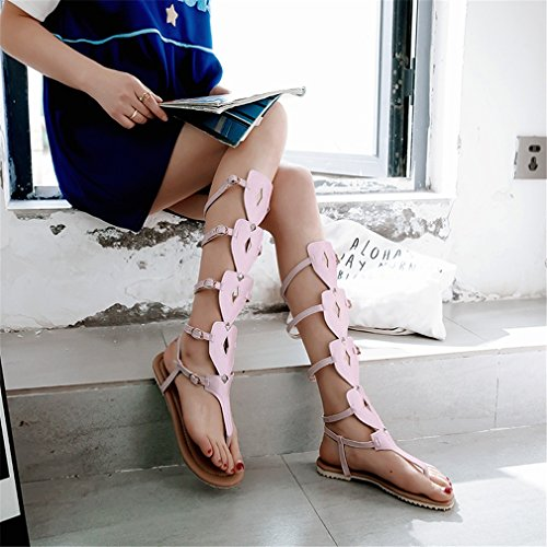 Buckle Zapatos de para Bottom o Bottom Boots Color Mujer para 36 Sandal Hollow Fiesta Noche Zapatos Belt y Boots Zapatos Comfort Tall UN Mujer Caminar de tama vwqzUzd