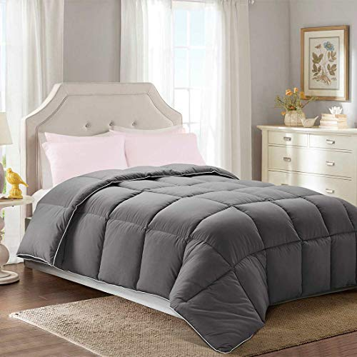 Brermer Soft Queen Goose Down Alternative Comforter, All Seasons Puffy Warm Duvet Insert with 8 Corner Tabs, Luxury Reversible Hotel Collection, 88x 88, Grey