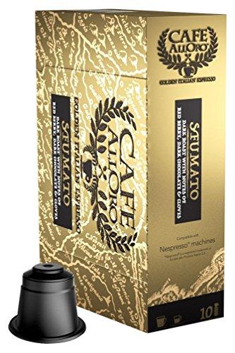 Café  AllOro Ultra Premium Dark Roast, Italian Espresso & Lungo Coffee Nespresso Compatible Capsules, Sfumato, 50 Count