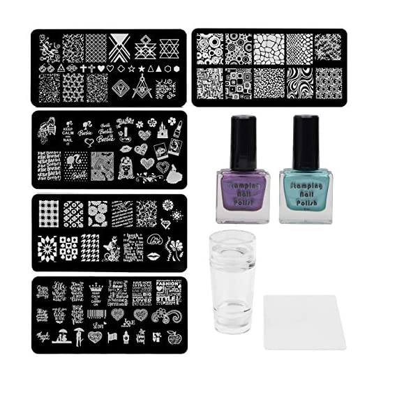Lifestyle-You Nail Stamping Kit With 5 Rectangular Steel Image Plates, Silicone Stamper & Scraper & Stamping Nail Polish