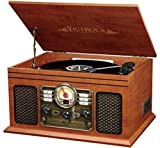 vinyl turntable technics - Victrola Nostalgic Classic Wood 6-in-1 Bluetooth Turntable Entertainment Center, Mahogany