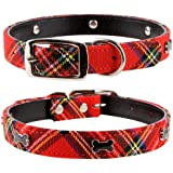 "Pet Palace Tartan ""Scottie Dog"" Medium Leather Luxury Dog Puppy Collar For Dogs Proud Of Their Heritage Medium 14 - 17 Inch Neck Red"