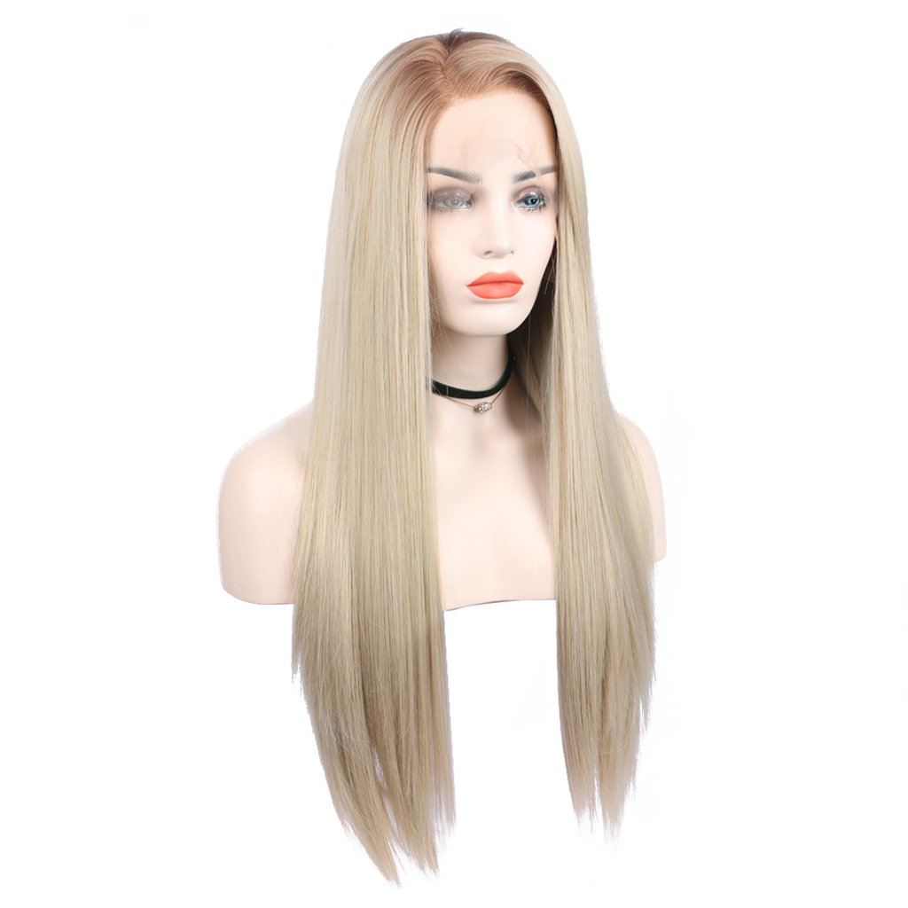 Arimika donna Blonde ombre Side Part synthetic Lace Front wigs-straight radici capelli, marrone chiaro, resistono al calore capelli sintetici, pizzo frontale, 61 cm