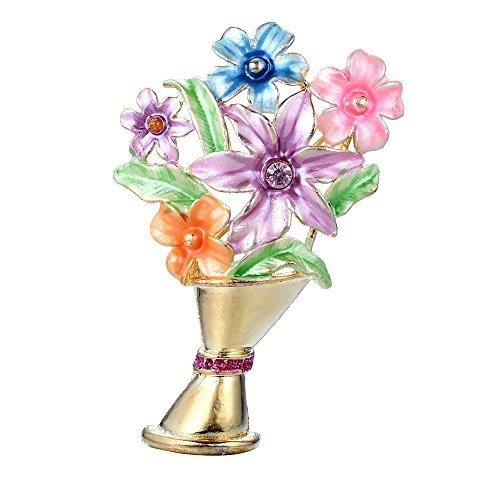 Sparkly Gold Tone Colorful Flower Bouquet Hand Painted Flowers & Lavender Colored Crystal Accent |