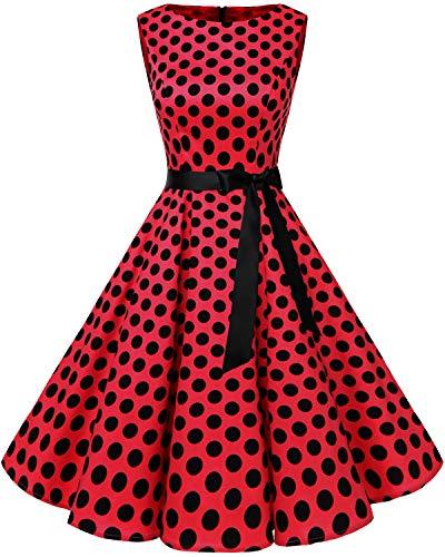 Bbonlinedress Women's 1950s Audrey Summer Vintage Rockabilly Swing Dress Red Black BDot XL