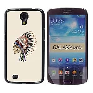 Shell-Star Arte & diseño plástico duro Fundas Cover Cubre Hard Case Cover para Samsung Galaxy Mega 6.3 / I9200 / SGH-i527 ( Indian Feathers Skull Native American )