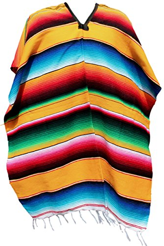 Trade MX Authentic Mexican Poncho (Multiple Colors Available) (Yellow)