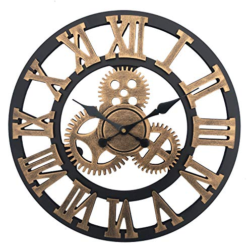 Vintage Industrial Gear Wall Clock,23 Inch Round 3D Roman Numerals Retro Rustic Battery Operated Non-Ticking Large Art Home Decoration for Living Room (23 inch Diameter, Antique Gold)