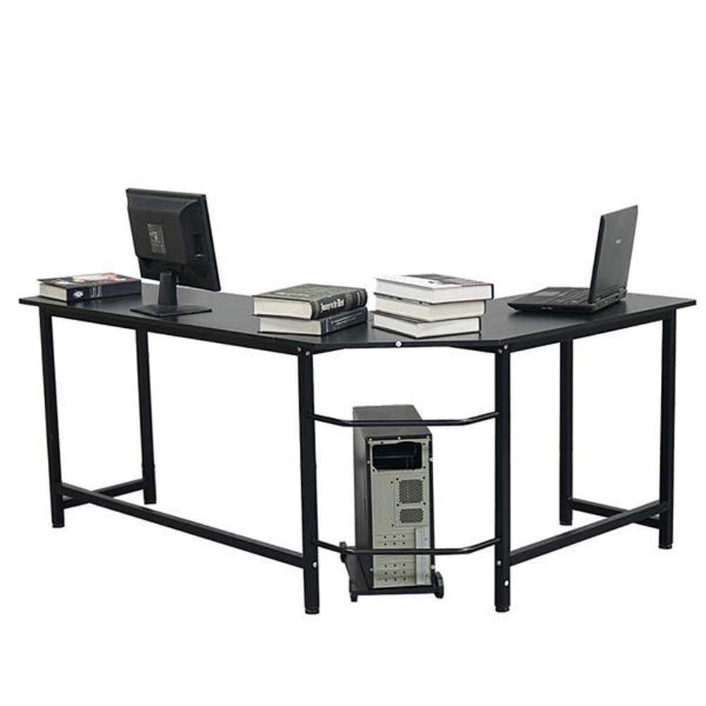 Lovinland L Shaped Corner Desk 3 Piece Office Computer Desk Laptop PC Workstation Gaming Table for Home Office Black