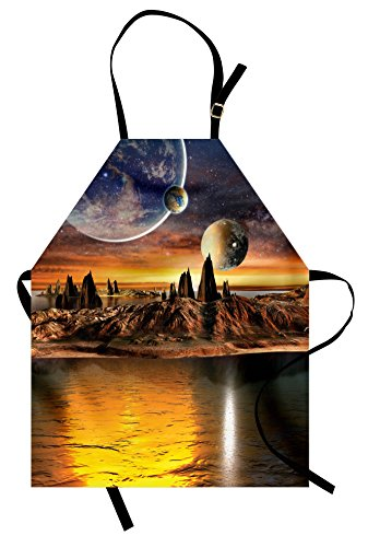 (Ambesonne Fantasy Apron, Alien Planet with Earth Moon and Mountain Fantasy Sci Fi Galactic Future Cosmos Art, Unisex Kitchen Bib Apron with Adjustable Neck for Cooking Baking Gardening,)