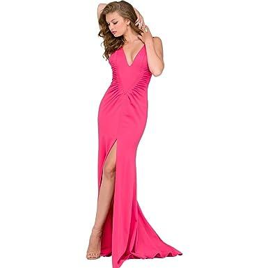 Jovani Ponte Slit Formal Dress Pink 0