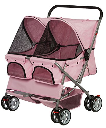 Cheap Paws & Pals Double Dog Stroller – Pet Strollers for Small Medium Dogs Cats Two Doggy Puppy or 2 Kitty Cat Carriage Buggy – Fold-able Animal Pets Doggie Cart Carriages, Pink