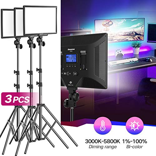 Bi-Color LED Video Light Stand Lighting Kit 3 Pack 15.4'' Large Panel 3000K-5800K 45W 4800LM Dimmable 1-100% Brightness Soft Light for YouTube Game Video Shooting Live Stream Photography Lighting