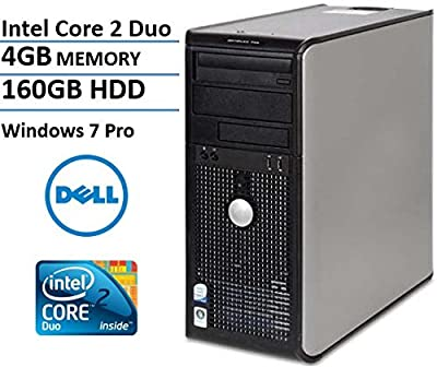 Dell Optiplex 745 Business Mini-Tower Desktop Computer, Intel Dual Core 2 Duo 1.86GHz Processor, 4GB DDR2 RAM, 160GB HDD, DVD, Gigabit Ethernet, Windows 7 Professional (Certified Refurbished)