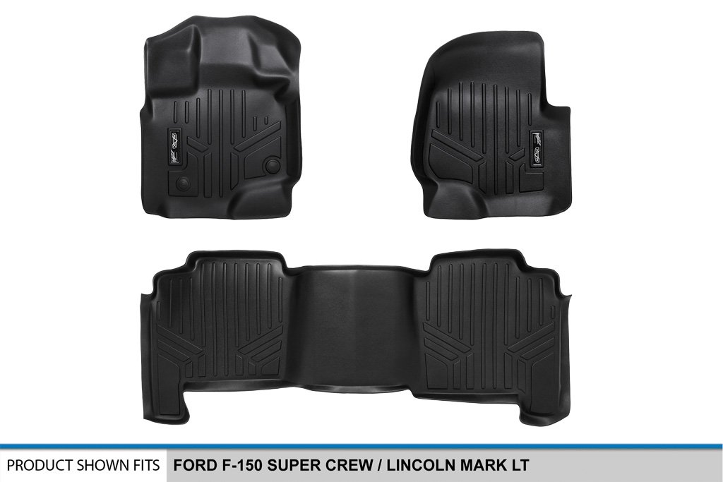 SMARTLINER Floor Mats 2 Row Liner Set Black for 2004-2008 Ford F-150 SuperCrew Cab 2006-2008 Lincoln Mark LT Crew Cab Maxliner USA A0175//B0175