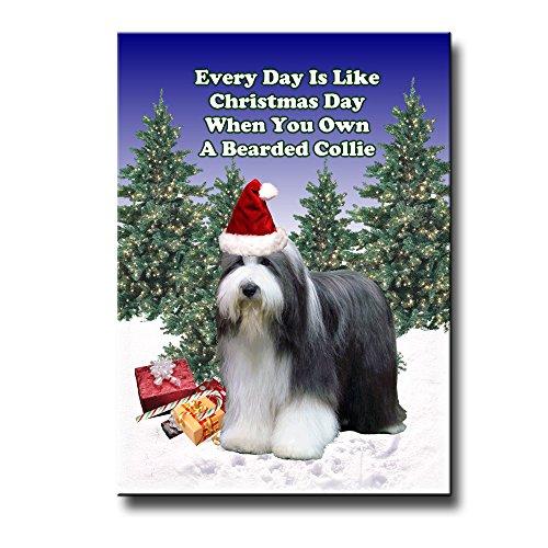 Bearded Collie Christmas Holidays Fridge Magnet
