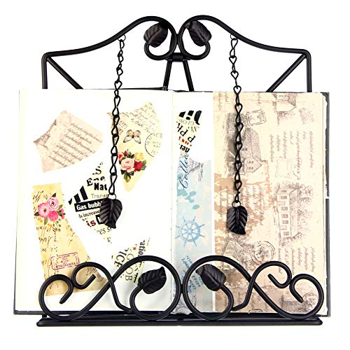 Kitchen Cookbook Holder Reading Rest Cookbook Stand Holder Foldable Tablet Cook Book Stand Bookrest with Adjustable Backing & Elegant Pattern (FBA-SPJ03-Black)
