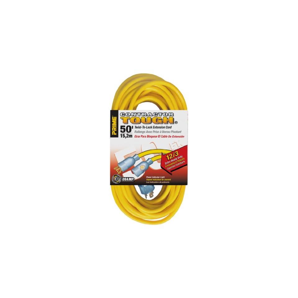 Prime Wire & Cable EC730830 50 Foot 12/3 SJTW Twist to Lock Contractor