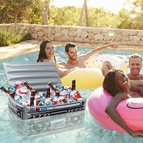decaden Aufblasbarer Eiskübel Schwimmender tragbarer PVC-Eisaufbewahrungsboxbehälter mit großem Raum Picknick-Grill für Wasser-Party