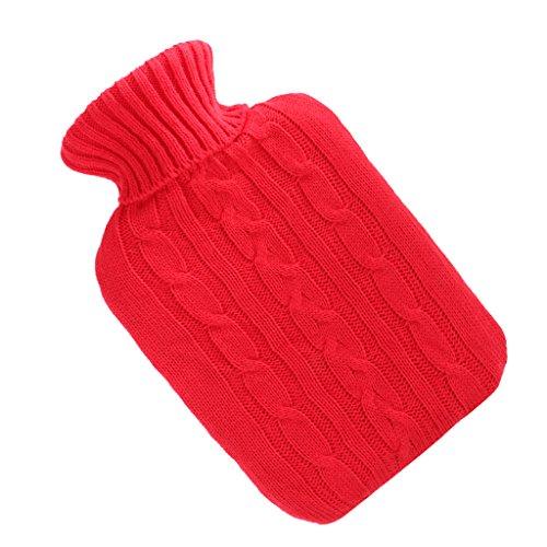Sharplace Bouillotte d'Eau Chaude en Caoutchouc Transparente avec Housse Tricotée pour Soulager Douleur de Blessure de Sports / Réchauffement Mains et Pieds - 2000ml