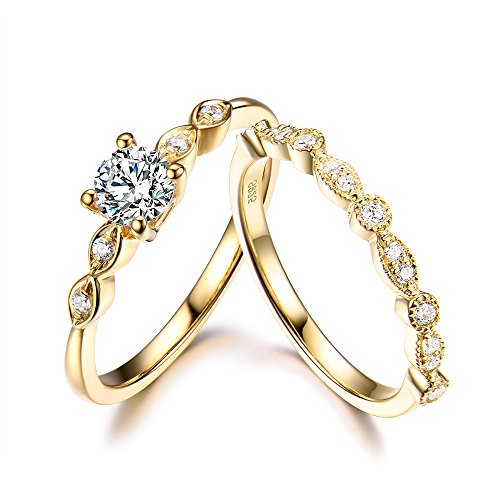 5mm Round Cut Diamond Simulated Art Deco Engagement Ring Wedding Ring Set Solid 14K Yellow Gold Marquise by Milejewel CZ engagement rings