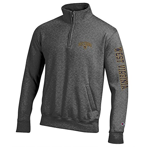 WVU West Virginia Mountaineers Quarter Zip Sweatshirt Letterman Charcoal - (Mountaineer Zip)