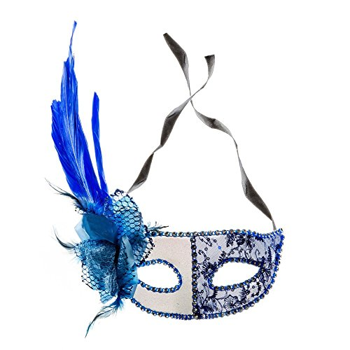 Venetian Side Feather Mask (Sheer Lace and Floral Mardi Gras Masquerade Halloween Costume Mask(Blue))
