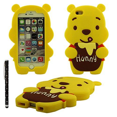 Verschiedene Farben Bär Form weiche Silikon-Kastenabdeckung case für Apple iPhone 6 plus 5.5 inch Hülle mit Touch-Screen-Stift(gelb)