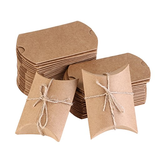 NUOLUX 50Pcs Kraft Boxes Christmas Candy Boxes Vintage Style with Rope for Wedding favors by NUOLUX