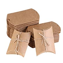 NUOLUX 50Pcs Kraft Boxes Christmas Candy Boxes Vintage Style with Rope for Wedding favors