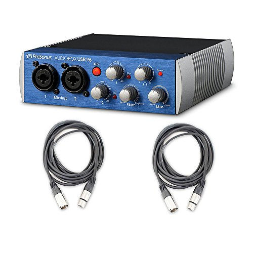 Presonus AudioBox USB 96 Recording Podcast interface and 2 AxcessAbles Cables by eStudioStar